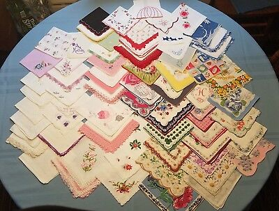 Lot of 68 Vintage Handkerchiefs Cutters for Crafts Embroidered & Lace Flaws