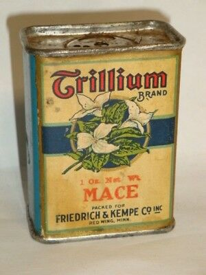 Nice Old Paper Label Red Wing Trillium Brand Mace Advertising Spice Tin Can