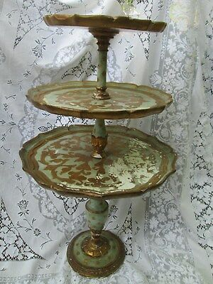 Vintage Italy Florentine wooden table 3 TIER TABLE  Gold & GREEN