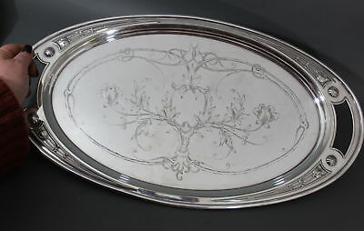 Antique Secessionist Signed WMF German Hand Engraved Silverplate Serving Tray
