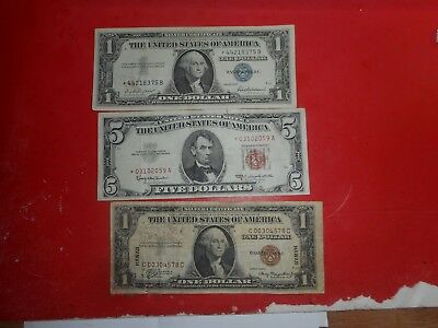 united states notes,  paper money lot of 3 HAWAII ,STAR NOTES