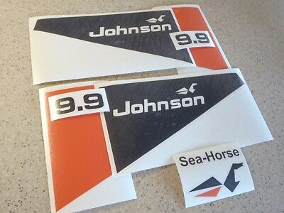 Johnson Sea Horse 9.9 HP Outboard Motor Decal Kit Vintage + Free Fish Decal!