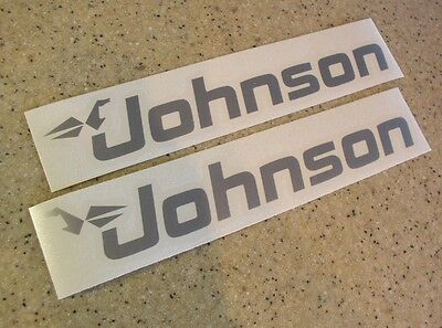 Johnson Outboard Motor Decals 2-PAK SILVER FREE SHIP + FREE Fish Decal!