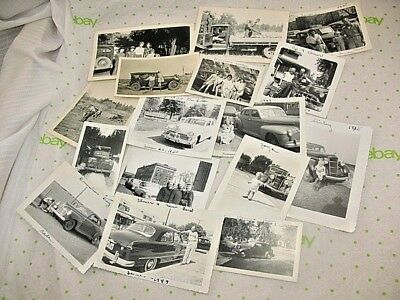 Antique - Vintage Lot Of 16 Photos Old Cars Snapshots Black & White  37B8