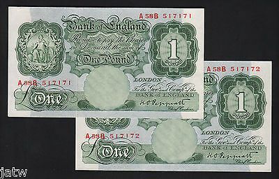 GREAT BRITAIN P-369a. (1948-49) One Pound..Peppiatt.. CONSECUTIVE PAIR.   aUNC