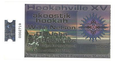 WILLIE NELSON DR JOHN RADIATORS 5/25-27/01 Hookaville XV Concert Ticket Stub!