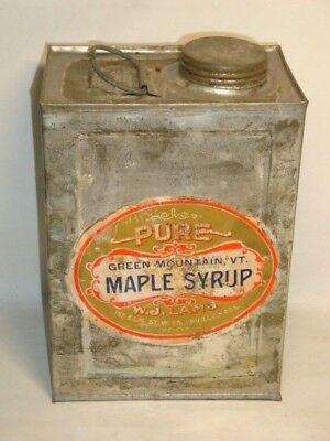 Nice Old Green Mountain Brand Maple Syrup Advertising General Store Tin Can