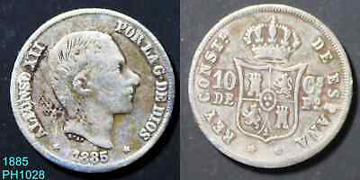 PHILIPPINES Spanish 10 Centimos 1885 circulated silver coin probably cleaned