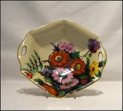 Noritake Art Deco Six Sided Two Handle Bowl Floral Design with Gold Trim N223