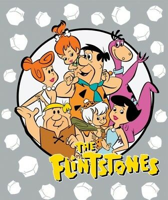 The Flintstones Prehistoric Stone Age Family Large Cotton Fabric Panel