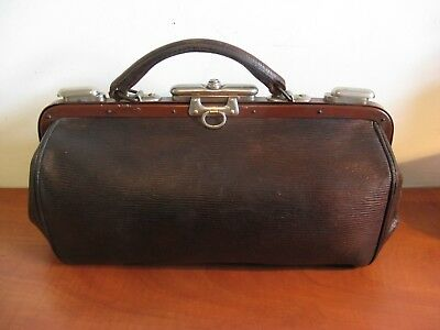 Beautiful vintage French leather doctor's bag, from the 1920s
