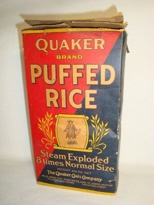 Nice Old Tall Quaker Puffed Rice Advertising General Store Box Not Tin Can 1