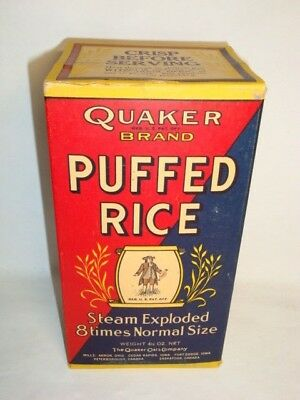 Nice Old Short Quaker Puffed Rice Advertising General Store Box Not Tin Can 2