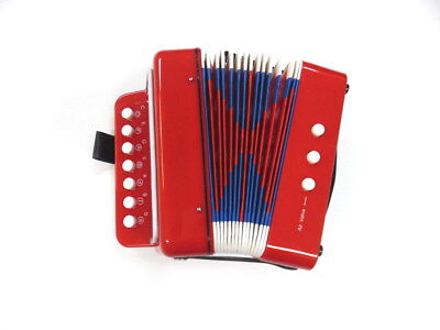 JUNIOR BUTTON/PIANO ACCORDION 7 Treble  2 Bass Buttons Red Finish