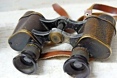 Pair Of Very Old Brass Cased Carl Zeiss Binoculars Possiby Ex Military - Rare