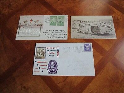 Lot Of Three(3) Vintage U.S. World War Covers And Postcard/Censored