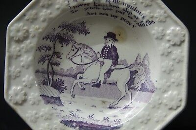 Unusual Old Childrens Nursery Plate With Horse Rider Design - Rare - L@@k