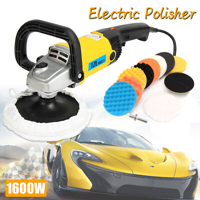 1600W Electric Car Polisher Sander 11x Polishing Buffing Pad Kit Variable Speed