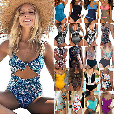 Women One Piece Push-Up Bathing Monokini Bandage V Neck Bikini Swimsuit Swimwear