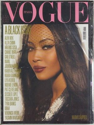 The All Black Issue FIRST PRINT ~ Naomi Campbell VOGUE ITALIA MAGAZINE July 2008