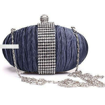 Stylish Navy Diamante Wedding Ladies Party Prom Evening Clutch Hand Bag Purse