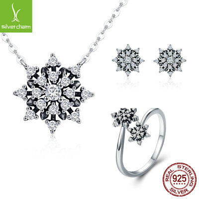 Pure Snow S925 Sterling Silver Earrings Necklace Open Ring Jewelry Set For Women