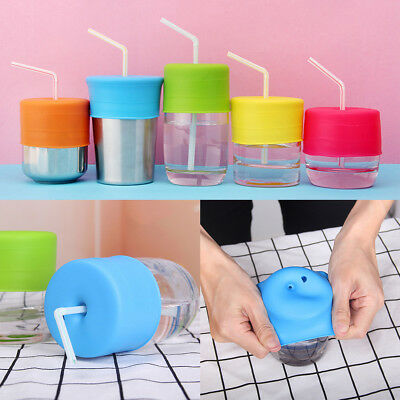 Baby Kids Silicone Sippy Cup Lid Water Bottle Straw Spill-Proof Cup Cover Case