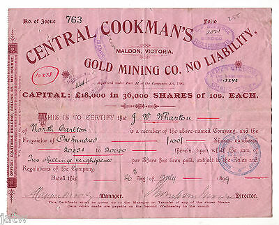 Share Scrip - Mining. 1899 Central Cookman's Gold Mining Co - Maldon Vic