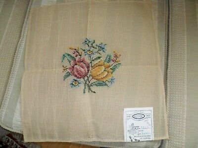 Tapestry Canvas  Vintage New. Pre Trammed  Floral Bouquet  17 x 18 ins.
