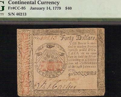 All Seeing Eye 1779 $40 Dollar Continental Currency Note Paper Money Cc-95 Pmg