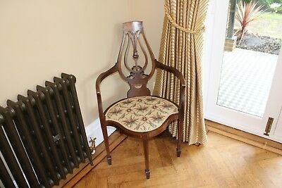 Edwardian antique inlaid corner chair (mahogany?), upholstered, gorgeous!
