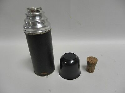 Vintage Antique Small 30-1/2 Metal Thermos Flask Glass Insert Cork Stopper (A7)