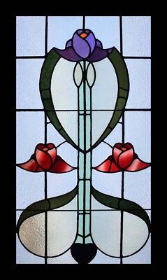 Rare Beautiful English Art Nouveau Floral Antique Stained Glass Window