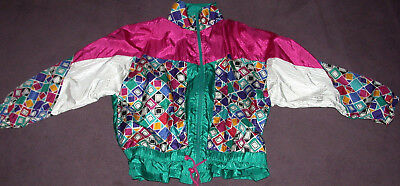 Vtg 1980s~JACKET+PANTS TRACK SUIT JOGGING~WOMENS XL~GREEN/TEAL+RASPBERRY~EXC!