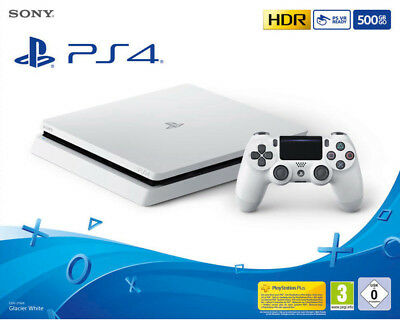 Sony PlayStation 4 Slim 500GB PS4 Glacier White (weiß, CUH-2116A) NEU OVP