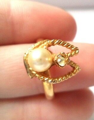 Stunning Vintage Estate Rhinestone Faux Pearl Flower Adjustable Ring!!!! 8923D