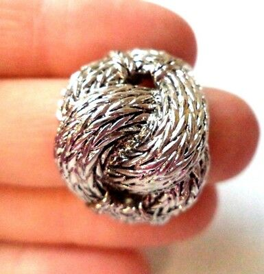 Stunning Vintage Estate Silver Tone Knot Textured Sz 9 Ring!!!! 8957I