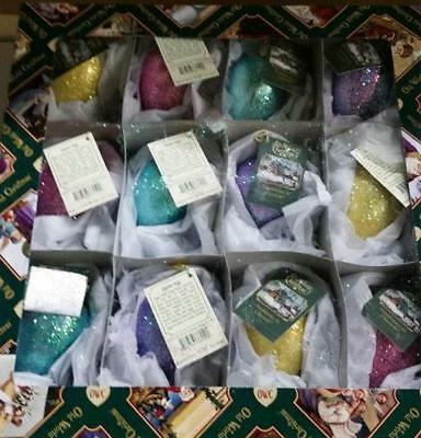 12 Assorted Shimmering Easter Egg Old World Christmas Glass Ornaments Nwt 36159