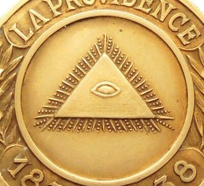 The Eye Of Providence & Lady Industry -Antique 1938 Art Medal Signed G. Devreese