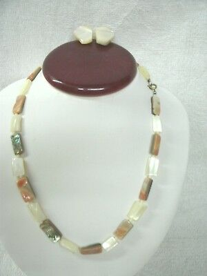 Vtg 1940-50's-Multi Color Mother of Pearl Stone--Necklace/Earr--UNWORN