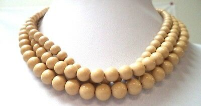 """Stunning Vintage Estate Tan Beaded Copper Tone Chain 18"""" Necklace!!!! 9634M"""