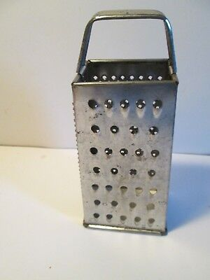"""Small Size Vintage Metal Grater By Ekco/8"""" High & 3.5 x 2.5"""" Base"""