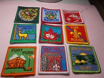 Nine Listed Ontario Scout Badges  Unused  Scouts Canada Badges  (Set 13)