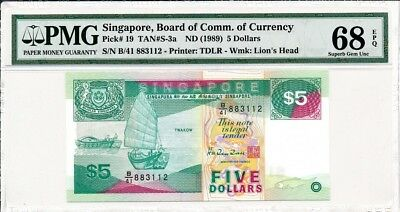 Board of Comm. of Currency Singapore  $5 ND(1989)  PMG  68EPQ