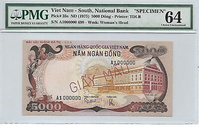 Vietnam - South, National Bank - 5000 Dong, nd (1975). Specimen. PMG 64.