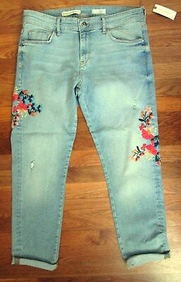 Pilcro and the Letterpress Light Blue Embroidered Flowers Jeans 30 NWT