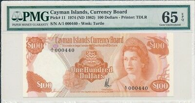 Currency Board Cayman Islands  $100 1974 Low No. A/1 000440. Rare PMG  65EPQ