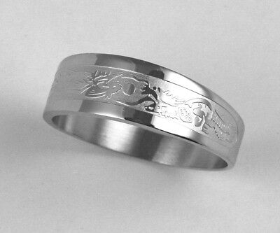 Unisex 316L Stainless Steel Dragon Phoenix Ring 7mm Band Size 10, 11 NEW SS115