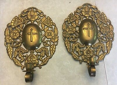 Vintage Pair of Brass Single Candle Wall Sconces - Floral / Cross Design
