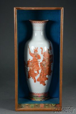 Chinese Eggshell Porcelain Vase, Iron Red Eight Immortals, Late Qing to Republic